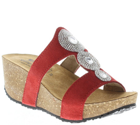 Spring Step Leather Wedge Slide Sandals - Tada