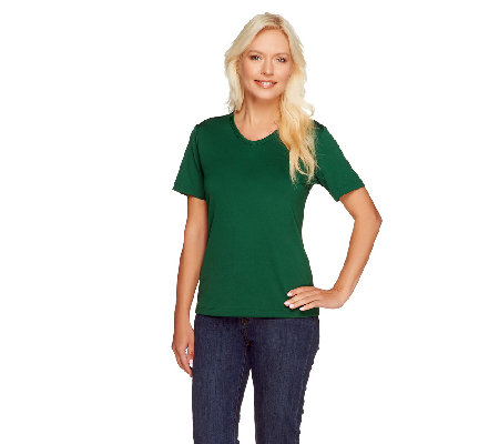 Susan Graver Essentials Butterknit V-neck Short Sleeve T-shirt