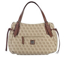 Dooney & Bourke Signature Large Nina Bag with Leather Trim - A215458