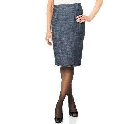 Joan Rivers Regular Length Ruffle Trim Slim Skirt