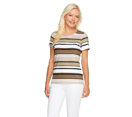 Liz Claiborne New York Scoop Neck Short Sleeve Striped T-Shirt