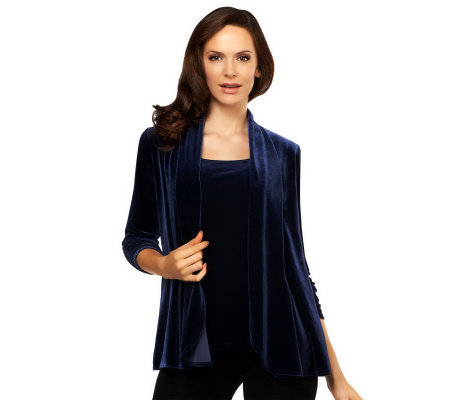 Susan Graver Stretch Velvet Ruched 3/4 Sleeve Cardigan & Tank Set