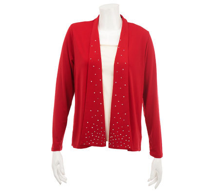 Quacker Factory Long Sleeve Fly Away Rhinestone Cardigan