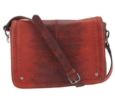 B. Makowsky Leather East/West Flap Crossbody Bag w/ Organization