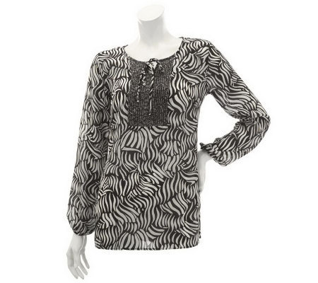 Susan Graver Crinkled Sheer Chiffon Blouse w/ Pleat Detail