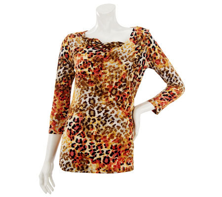 Susan Graver Printed 3/4 Sleeve Knit Top with Drape Neck