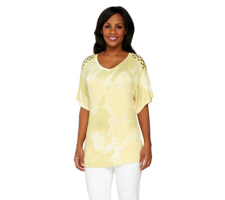 Lisa Rinna Collection Marble Print Top with Embellishment