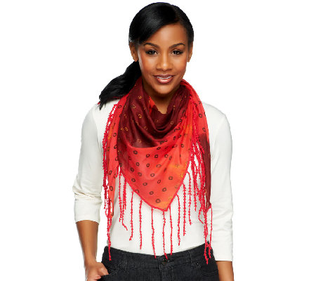 Nicole Richie Collection Handkerchief Scarf with Fringe