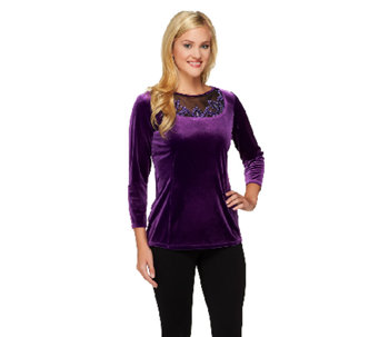Bob Mackie's Embroidered Mesh Inset Jewel Neckline Velvet Pullover - A239158