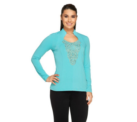 George Simonton Milky Knit Top with Rhinestone Neckline
