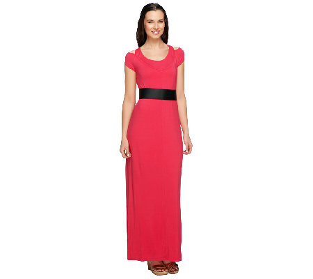 Lisa Rinna Collection Regular Cold Shoulder Maxi Dress w/ Belt