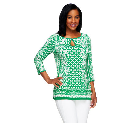 Susan Graver Liquid Knit Printed Top with Keyhole Button Detail