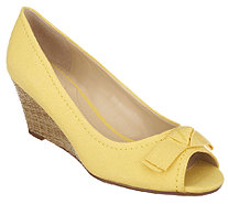 Isaac Mizrahi Live! Peep Toe Canvas Wedges with Bow Detail - A254658