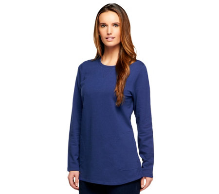 """As Is"" Denim & Co. Active Petite French Terry Tunic"