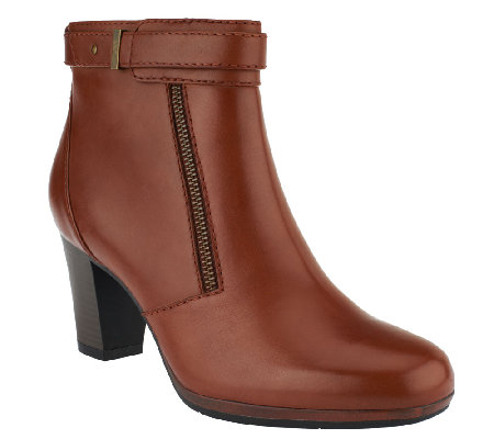 Clarks Leather Ankle Boots w/ Zipper - Kalea Gillian