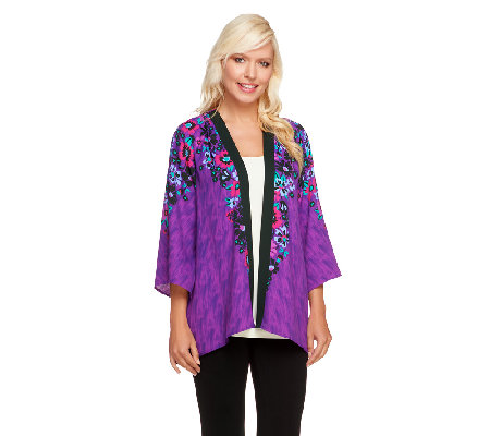Bob Mackie's Flared Romantic Floral Print Georgette Cardigan