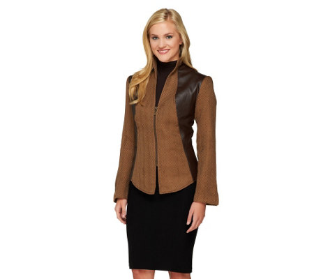 Mark of Style by Mark Zunino Herringbone Jacket with Stand Collar