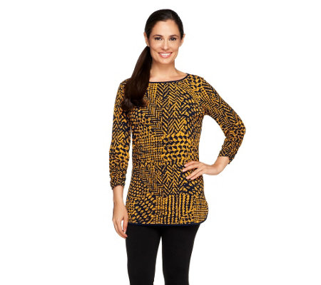 Susan Graver Printed Liquid Knit Ruched 3/4 Sleeve Tunic
