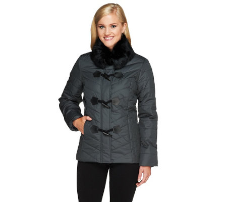 Dennis Basso Puffer Coat with Detachable Faux Fur Collar