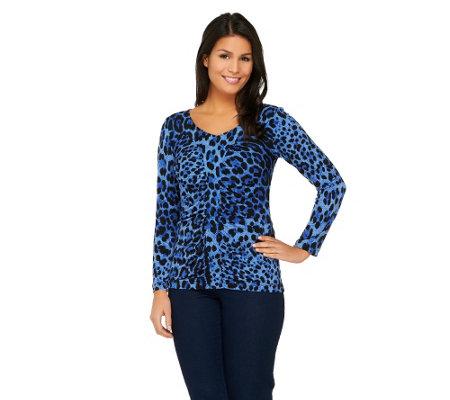 Susan Graver Printed Liquid Knit Ruched Front Top