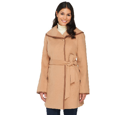 Dennis Basso Faux Wool Trench w/ Faux Leather Detail