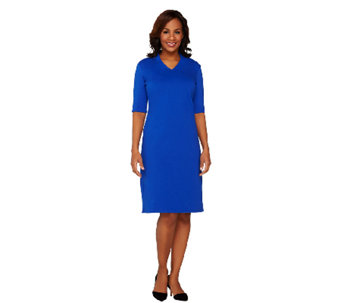 Liz Claiborne New York Essentials Ponte Knit V-Neck Dress - A261258