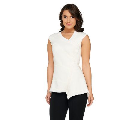 G.I.L.I Milano Ponte Asymmetrical Hem Top with Seaming Detail