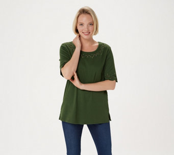 Quacker Factory Smile N' Style Scalloped Elbow Sleeve T-shirt - A263558