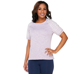 Denim & Co. Active French Terry Embroidered Short SleeveTop - A263658