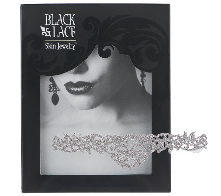 Black Lace Glitter Metallic Temporary Tattoos