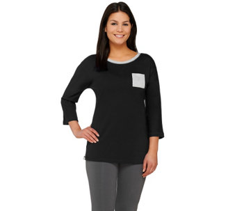 Denim & Co. Active French Terry Pullover with Heathered Trim - A266458