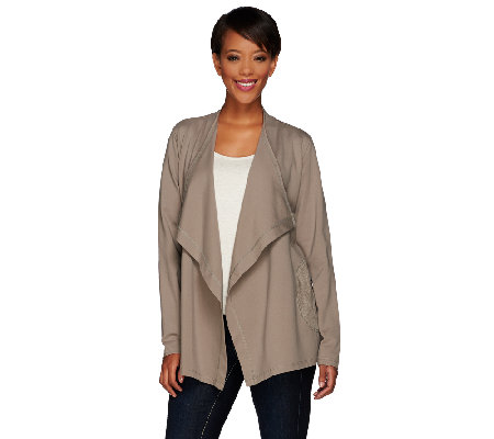 LOGO by Lori Goldstein Ponte Jacket with Suede Trim and Zip Pockets