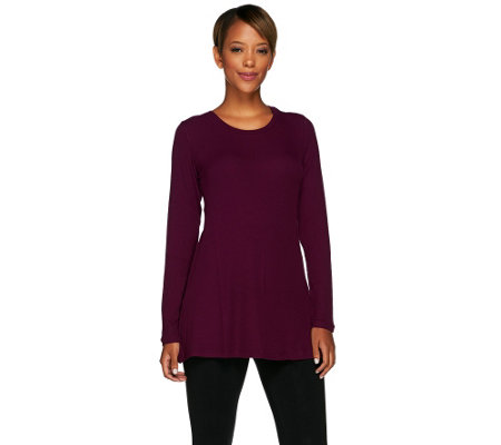 LOGO Layers by Lori Goldstein Long Sleeve Straight Hem Rib Knit Top