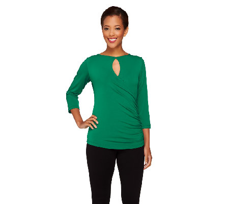 """As Is"" Susan Graver Liquid Knit 3/4 Sleeve Surplice Wrap Top"
