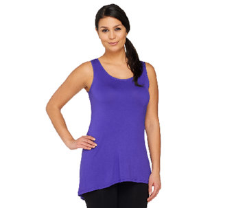 """As Is"" LOGO by Lori Goldstein Scoopneck Knit Tank with Chiffon Details - A269358"