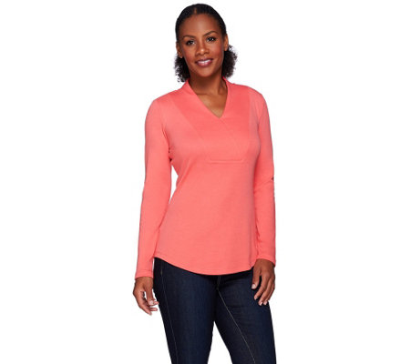 Isaac Mizrahi Live! Essentials Wrap Collar Knit Top