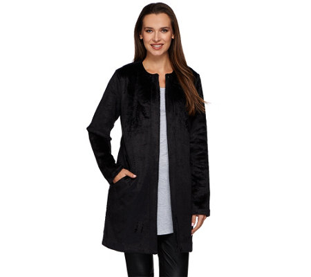 LOGO by Lori Goldstein Collarless Topper Coat with Pockets
