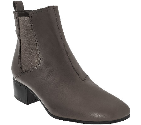 H by Halston Gored Leather Ankle Boots - Alison