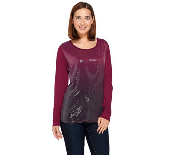 Kelly by Clinton Kelly Long Sleeve Sequin Tee - A271958