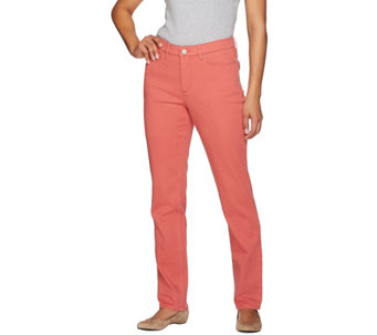 "Denim & Co. ""How Slimming"" Regular Colored Denim Straight Leg Jeans - A272958"