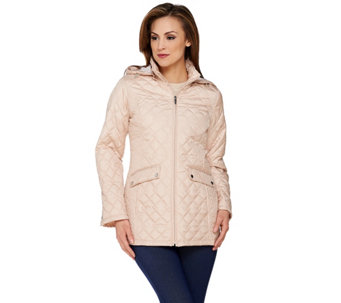 Liz Claiborne New York Packable Quilted Jacket with Hood - A273558