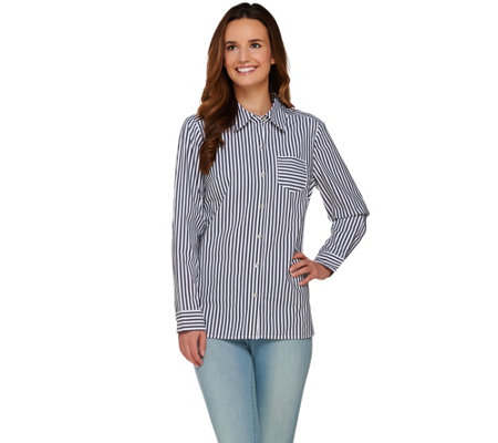 Denim & Co. Long Sleeve Button Front Striped Shirt