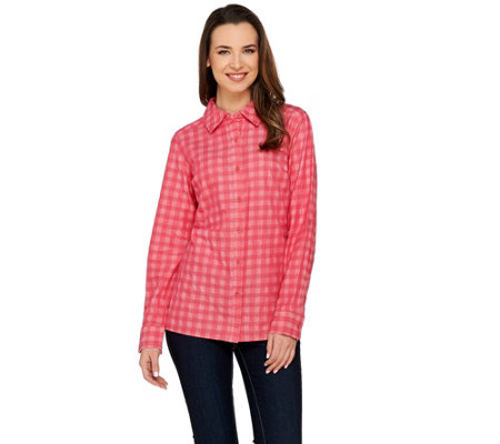 Isaac Mizrahi Live! TRUE DENIM Yarn Dyed Gingham Shirt