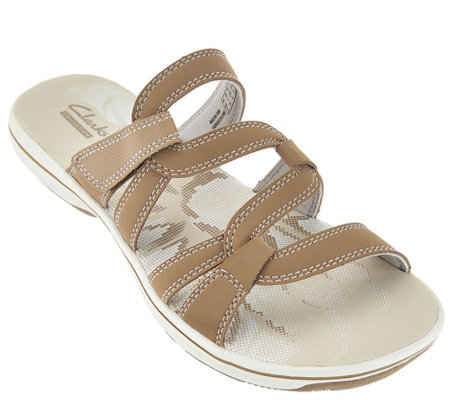 Clarks Leather Multi-strap Sport Slide Sandals - Brinkley Lonna