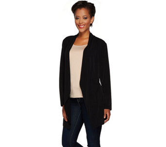 """As Is"" Susan Graver Liquid Knit Long Sleeve Cascade Front Cardigan - A276158"