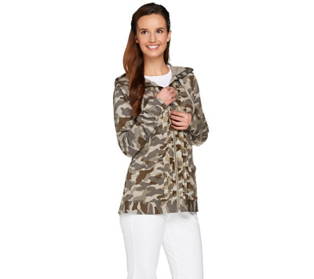 LOGO Lounge by Lori Goldstein Printed French Terry Hoodie w/ Chiffon Trim