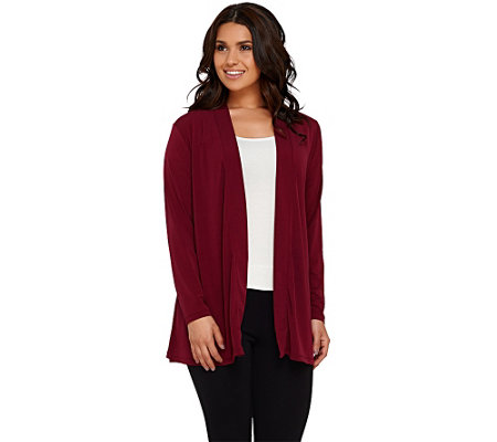 """As Is"" Susan Graver Liquid Knit Open Front Cardigan with Shirred Back"