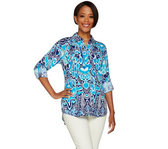 "C. Wonder Ikat Print Button Front ""Carrie"" Blouse with Back Pleat - A278458"