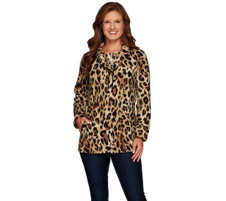 """As Is"" Susan Graver Weekend Printed Polar Fleece Long Sleeve Pullover"