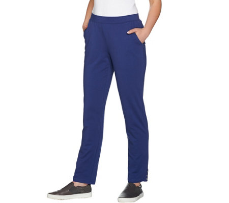Denim & Co. Active French Terry Pull On Pants w/ Grommets